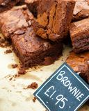Fresh Homemade Chocolate Brownies. In British Market stock image