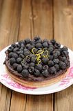 Fresh homemade chocolate pie with ganache, decorated with fresh Stock Photography