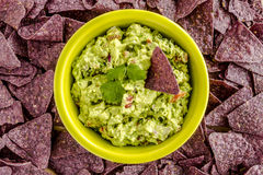 Fresh Homemade Chunky Guacamole Dip. Homemade chunky guacamole in bright green bowl surrounded by blue corn tortilla chips Stock Photo