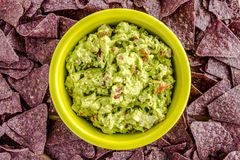 Fresh Homemade Chunky Guacamole Dip. Homemade chunky guacamole in bright green bowl surrounded by blue corn tortilla chips Royalty Free Stock Images