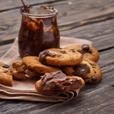 Fresh homemade cookies with chocolate Royalty Free Stock Images