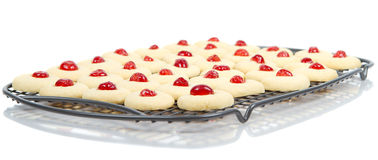 Fresh homemade cookies cooling. On rack on white. with reflections Stock Images