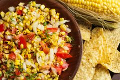 Fresh Homemade Corn Salsa and chips Mexican food Royalty Free Stock Photo