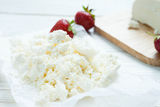 Fresh homemade cottage cheese, dairy product Royalty Free Stock Photo