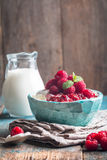 Fresh homemade cottage cheese with raspberries royalty free stock photo