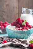 Fresh homemade cottage cheese with raspberries stock images