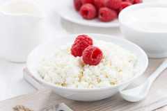 Fresh homemade cottage cheese with raspberry, milk and yogurt. Close-up, horizontal Royalty Free Stock Photos