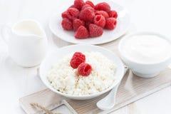 Fresh homemade cottage cheese with raspberry, milk and yogurt. Horizontal Stock Photos