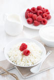 Fresh homemade cottage cheese with raspberry, milk and yogurt. Vertical, top view, close-up Stock Image