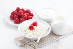 Fresh homemade cottage cheese with raspberry, milk and yogurt. On white table, close-up Royalty Free Stock Photo
