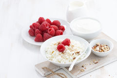 Fresh homemade cottage cheese with raspberry, milk and yogurt. On white table , horizontal Royalty Free Stock Images