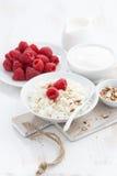 Fresh homemade cottage cheese with raspberry, milk and yogurt Stock Photo