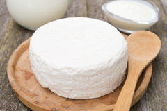 Fresh homemade cottage cheese, yogurt and milk, close-up Stock Photos