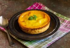 Fresh homemade creamy tart, on rustic dishware, napkin and backg stock photos