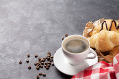 Fresh homemade croissants with chocolate and coffee Royalty Free Stock Photos