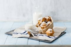Fresh homemade cupcakes with raisins, powdered sugar and milk. On blue wooden table with copy space Stock Images