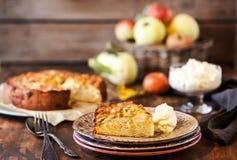 Fresh homemade delicious apple cake stock photos