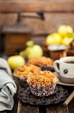 Fresh homemade delicious apple and cinnamon crumble muffins stock image