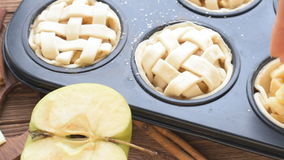 Fresh homemade delicious apple muffins . stock footage