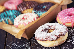 Fresh homemade donuts with various toppings Stock Photography