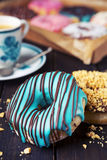 Fresh homemade donuts with various toppings Royalty Free Stock Photography