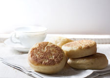 Fresh homemade English muffins with butter. Breakfast. Stock Photo