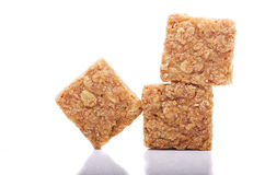 Fresh homemade flapjack oat cake with seeds isolated over white. Stock Image