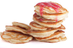 Fresh homemade fried pancakes with jam Royalty Free Stock Photography