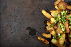 Fresh homemade fried potato wedges Royalty Free Stock Photos