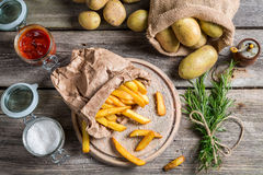 Fresh homemade fries with salt and ketchup Stock Photo