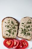 Fresh homemade goose liver pate on bread Stock Photo