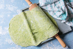 Fresh homemade green dough for pasta Stock Photography