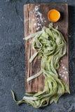 Fresh homemade green pasta tagliatelle Royalty Free Stock Photography
