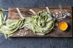 Fresh homemade green pasta tagliatelle Stock Photo