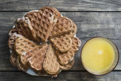 Fresh homemade heart shape waffles Royalty Free Stock Image