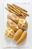 Fresh homemade Italian bread: ciabatta, wholemeal, turtle, gress Stock Images