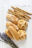 Fresh homemade Italian bread: ciabatta, wholemeal, turtle, gress Royalty Free Stock Image