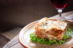 Fresh homemade lasagna Stock Photos