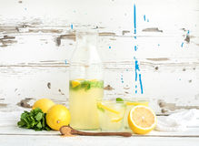 Fresh homemade lemonade with lemons and mint on Royalty Free Stock Photo
