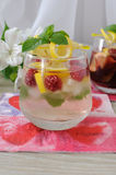 Fresh homemade lemonade with mint and raspberries Stock Photography