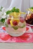 Fresh homemade lemonade with mint and raspberries. A glass of fresh homemade lemonade with mint and raspberries Stock Photography