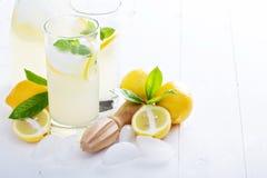 Fresh homemade lemonade in tall glasses Stock Photo