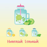 Fresh homemade lemonade in vintage bottle . Beverage  illustration. Drink sign.  in  with tap for party Stock Photography