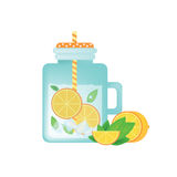 Fresh homemade lemonade in vintage mason jar with orange, ice, mint and orange slice. Royalty Free Stock Photography