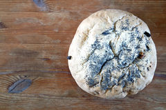 Fresh homemade loaf of bread. Homemade loaf of walnut and raisin bread, cooling on a wooden table Stock Photography