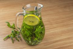Fresh homemade mint tea. Tempting summer refreshment. Healthy, refreshing drink without sugar. Stock Photography