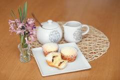 Fresh homemade Muffin on wooden table Royalty Free Stock Photo