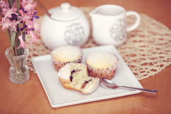 Fresh homemade Muffin on wooden table Royalty Free Stock Images