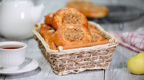 Fresh homemade open yeast buns with apple and crumble. Traditional Russian pastry vatrushka, round buns, curd tart. Fresh homemade open yeast buns with apple and stock photos