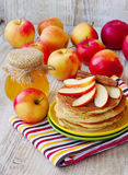 Fresh homemade pancake with apples, honey and cinnamon Stock Image